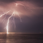 10. Juuli 2015 - 21:39 - Lightning  on the 10th of July, in  Poole Bay Dorset  I tried using my 70-200L as it was on the camera, but it was a bit too long (too small a fov) but I got lucky with this one I pointed it to the last flash and got this.