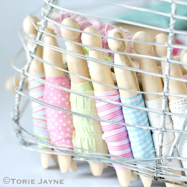 Basket of organized ribbons
