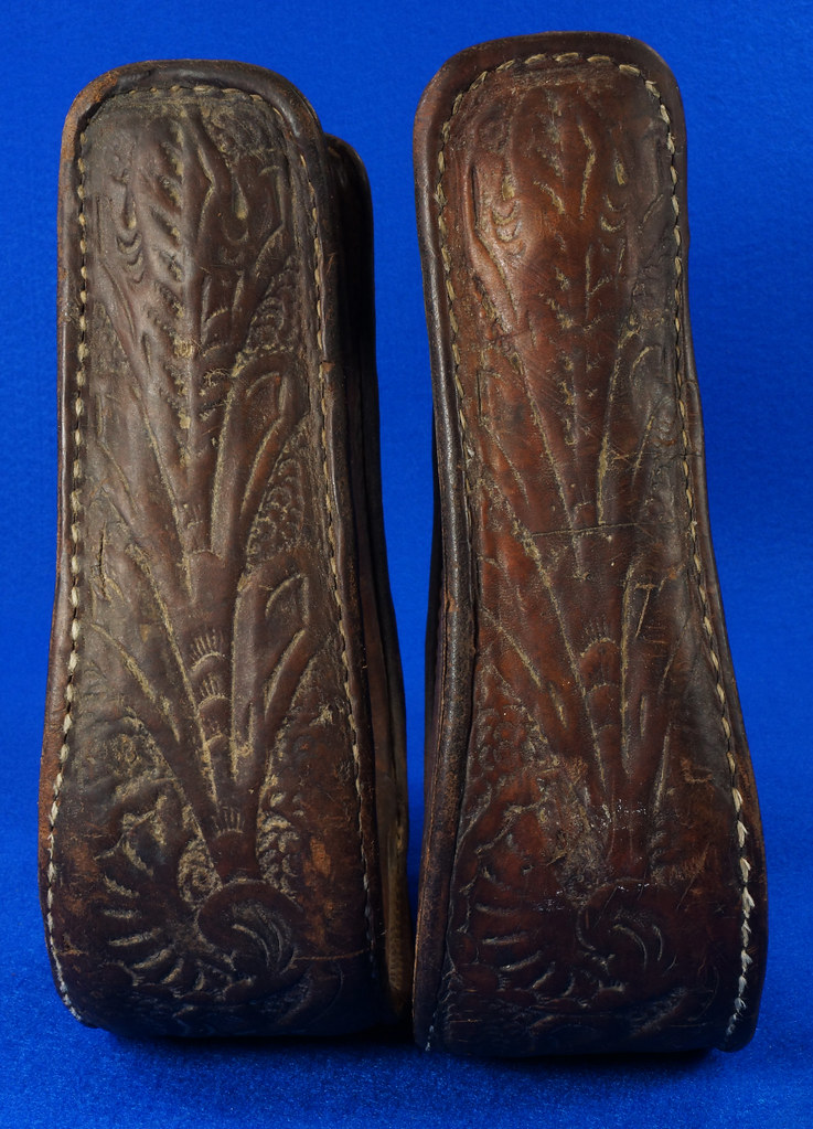 RD14952 Vintage Pair of Leather Over Wood Stirrups DSC07353