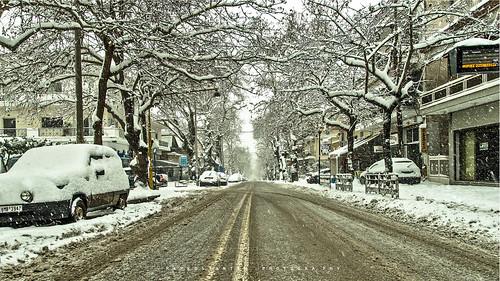 snow city cityscape road ice view landscape street winter