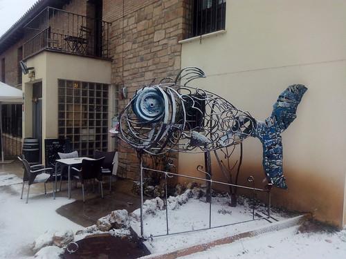 MoBU nevado. Esculturas de Jose Azul en la terraza del Hotel. 20/01/2017