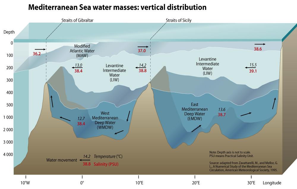 Mediterranean Sea Water Masses Vertical Distribution Grid Arendal