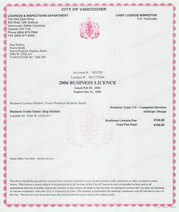 Business License 2006
