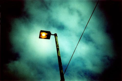 light over dark city
