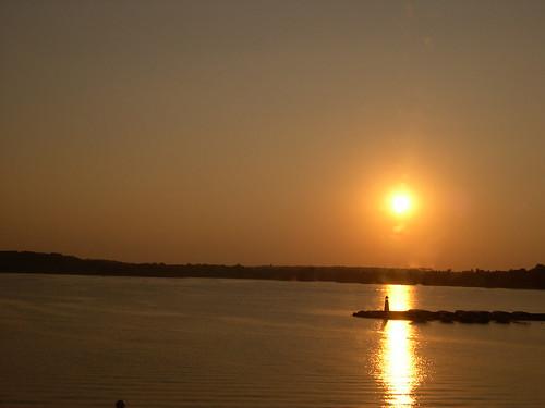 sunset lake lakepanorama water sun sky