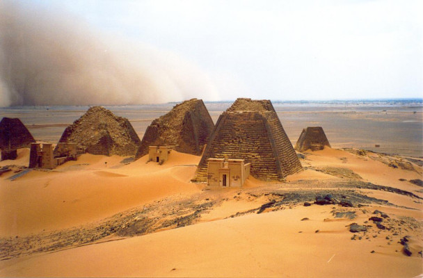 -Sandstorm over pyramids in Bajrawia-