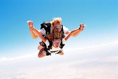parachute(0.0), windsports(0.0), downhill(0.0), tandem skydiving(1.0), air sports(1.0), sports(1.0), parachuting(1.0), extreme sport(1.0),