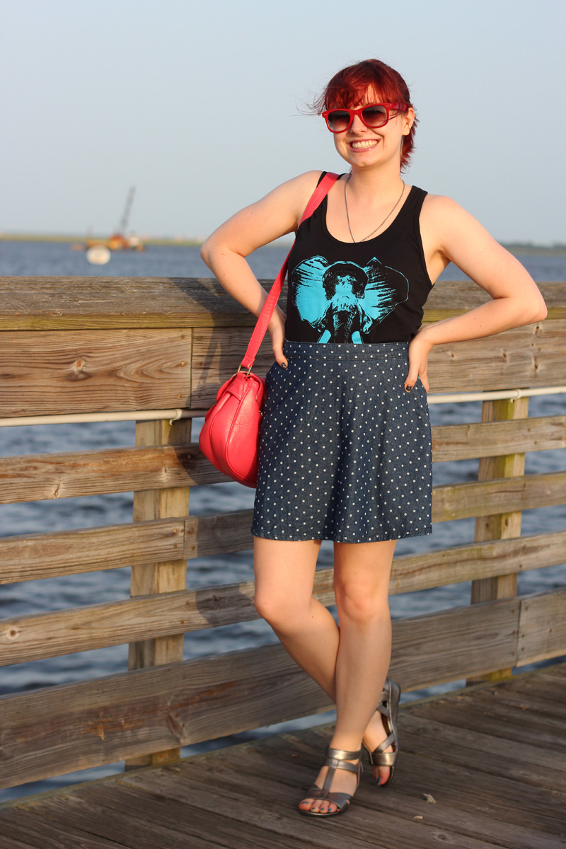 Outfit: Elephant Graphic Tank Top, Dotted Denim Skirt, Silver ...