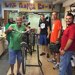 Stopped in to the Peoria Bike Co-Op and end getting my hands dirty helping Tony work on his bottom bracket and front derailleur.