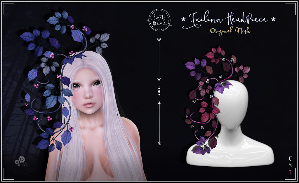 Failinn Headpiece Purple - Sweet Lies Original - SecondLifeHub.com