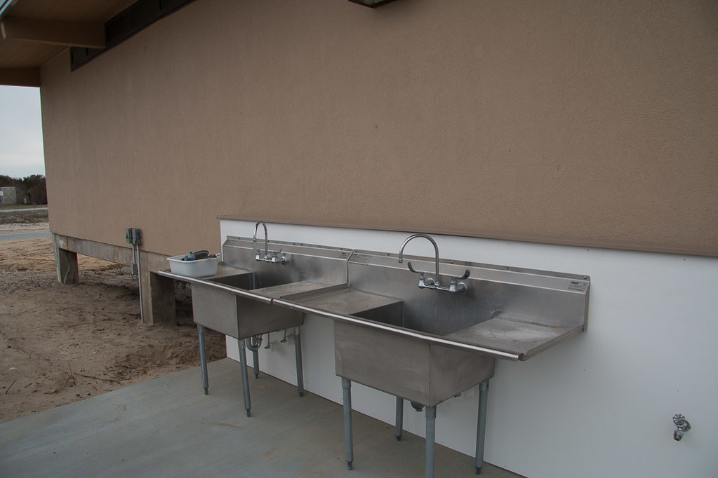 Large industrial sinks available for campers