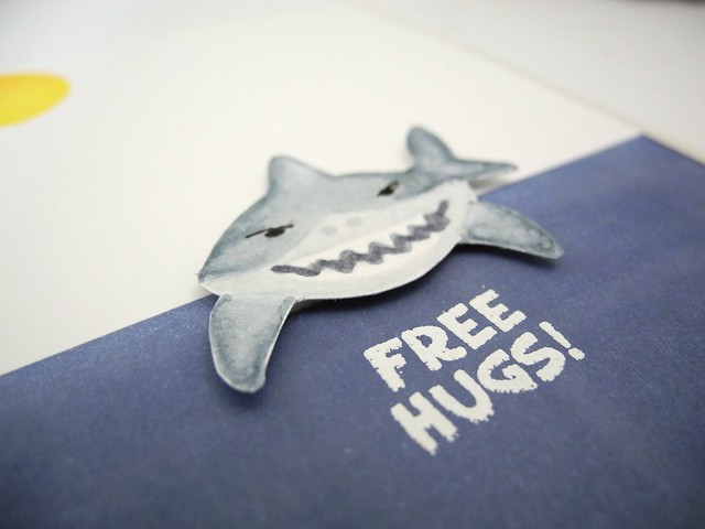Free Hugs by Jennifer Ingle #JustJingle #SharkWeek #sharks #cards #NewtonsNook