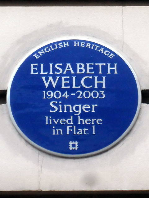 Elisabeth Welch blue plaque - Elisabeth Welch 1904-2003 singer lived here in Flat 1