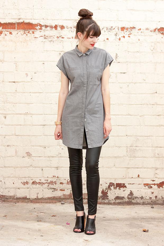 Everlane Shirtdress, Leather Leggings, Minimal Style