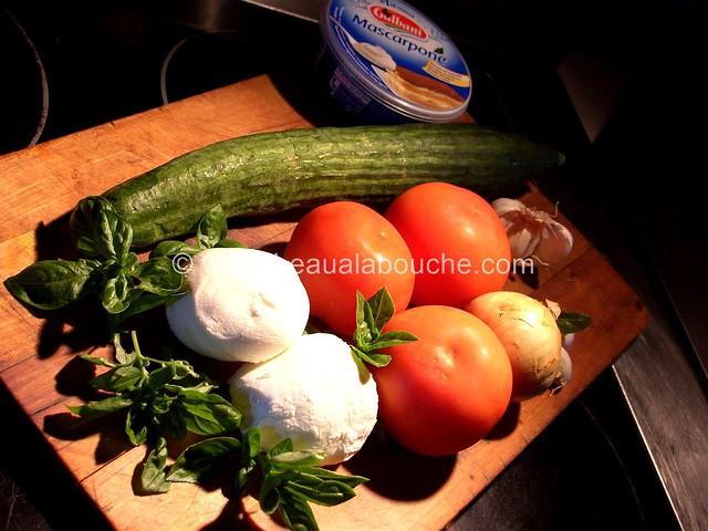 Gaspacho & sa Quenelle de Mozzarella au Basilic  © Ana Luthi Tous droits réservés 1