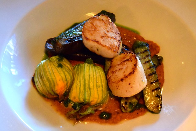 Scallops & Stuffed Courgette Flowers at The Finnieston, Glasgow