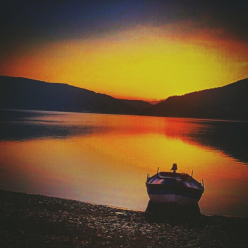 lake boat scenery sunsets summerdays