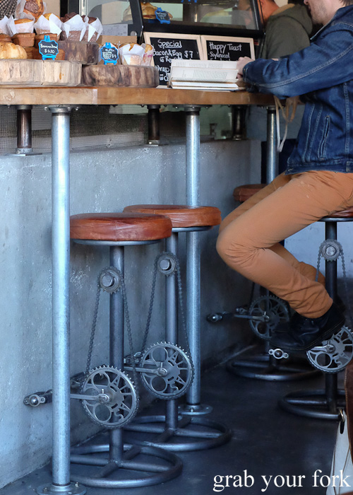 Stools with bicycle pedals at The Local Mbassy, Ultimo