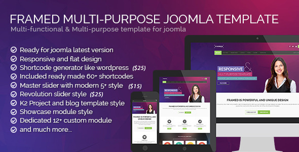 Framed v1.2.0 - Multi-purpose Joomla Template
