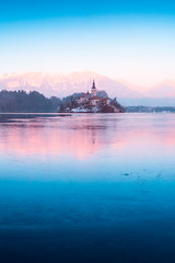Winter colors at lake Bled