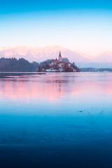 Winter colors at lake Bled