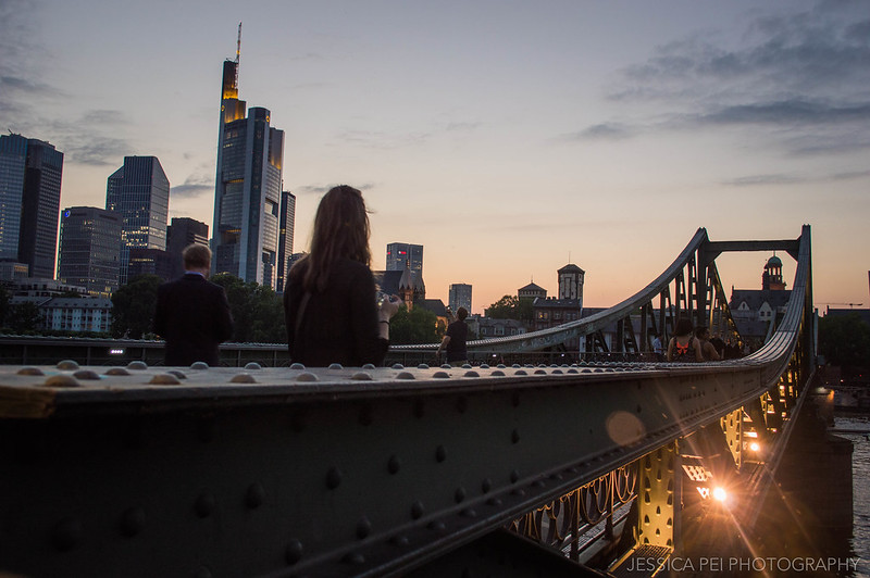 Eiserner Steg Bridge Sunset Frankfurt Germany