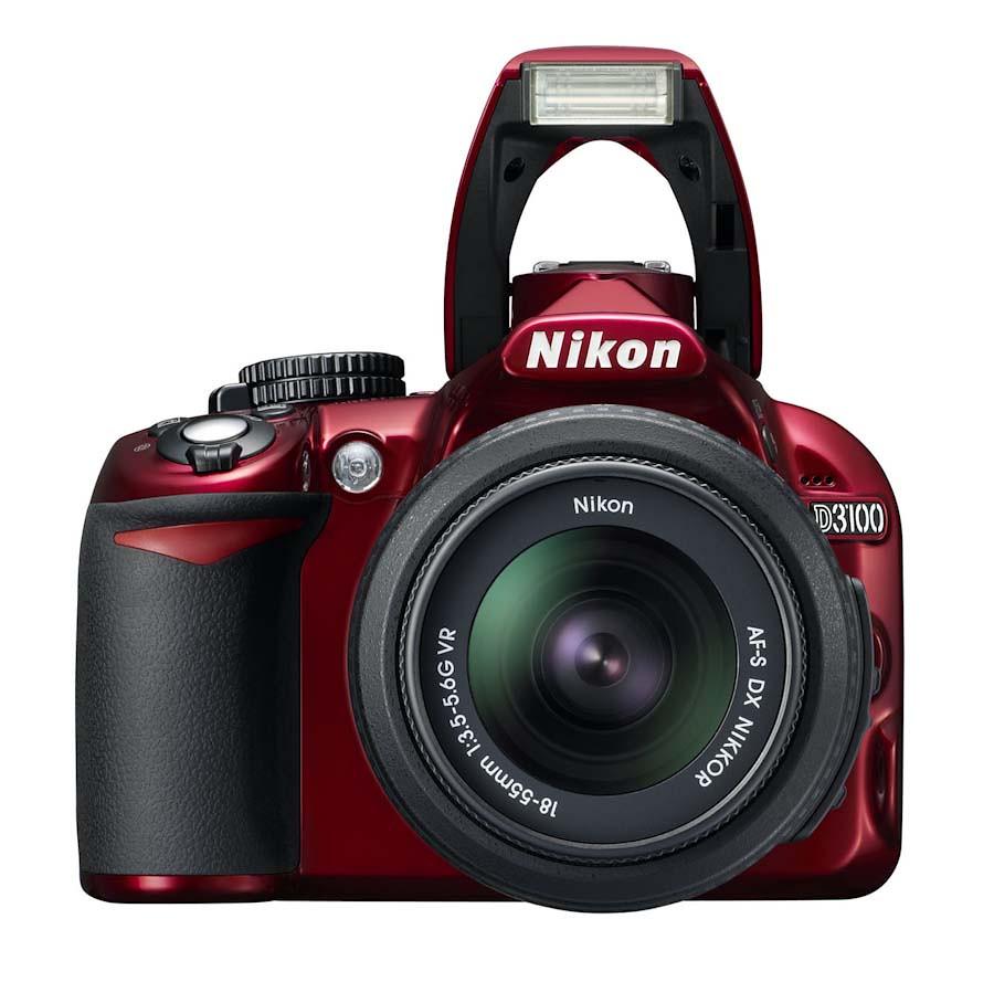 Nikon D3100 Red Digital SLR Camera 18 55mm VR 3 Lens Kit