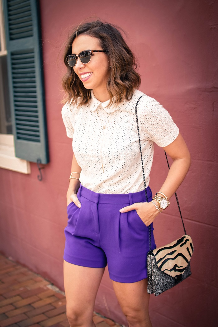 aviza style. andrea viza. fashion blogger. dc blogger. midi shorts. eyelet top. eyelet peter pan collar. joie flip flops. preppy summer style. 3