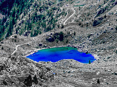 moraine, mountain, valley, volcanic crater, lake, cirque, geology, wilderness, mountain pass, aerial photography,