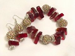 Bracelet -Earrings Set $65 Sliced Red Quartz Beads/ Large Iridescent Beads/ Square Crystal Rondells/ Pewter Disc Accent Spacers.  7.5