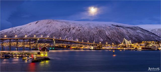 Full moon over Tromsø, Norway (explored)
