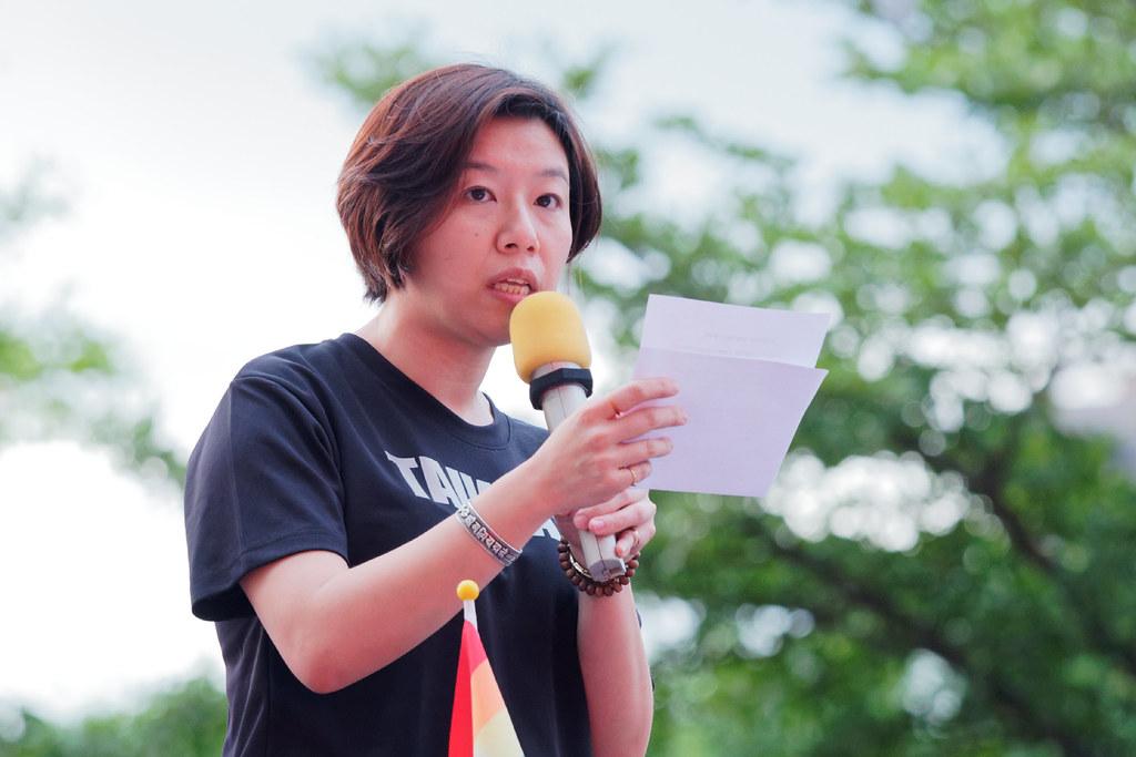 民進黨婦女部主任林靜儀宣讀該黨聲明,表示民進黨立委已努力讓同志婚姻平權法案進入議程,「但很可惜,委員會中我們的席次較少。」(攝影:林佳禾)
