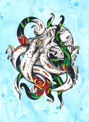 Octopuss and roses painting