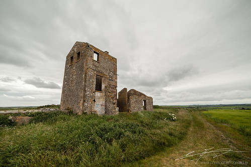 ireland summer sky building green tower castle field architecture clouds landscape coast outdoor cove cork south watch ruin crops roberts watchtower napoleonic nauture
