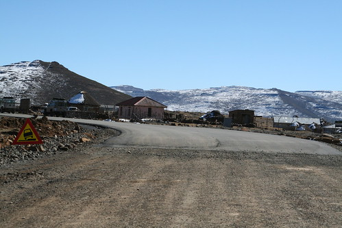 The start of the paved road, Lesotho Border Post at Sani Pass