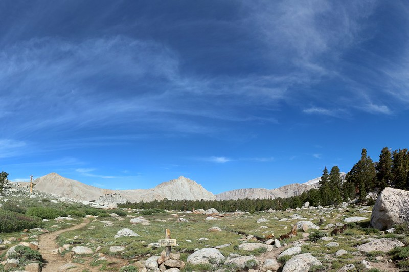 We reach the Cottonwood Lakes Basin at the Muir Lake Trail junction.