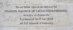 Photo of Charles Maurice de Talleyrand-Périgord stone plaque