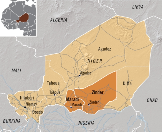Niger case study provinces reference map | GRID-Arendal
