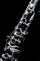 reed instrument, monochrome photography, clarinet, monochrome, black-and-white, wind instrument,