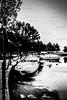 cabin cruiser wharf - vintage look
