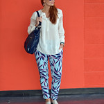 White boho top, palm print trousers | Not Dressed As Lamb