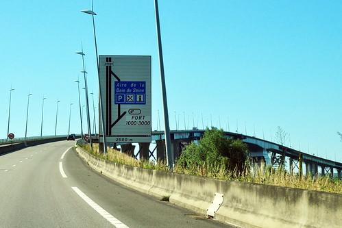 Seine Brücke Schrägseilbrücke Pylonbrücke Le Pont de Normandie Maut Péage Foto Brigitte Stolle