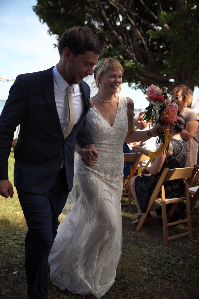 Walking back up the aisle as a married couple