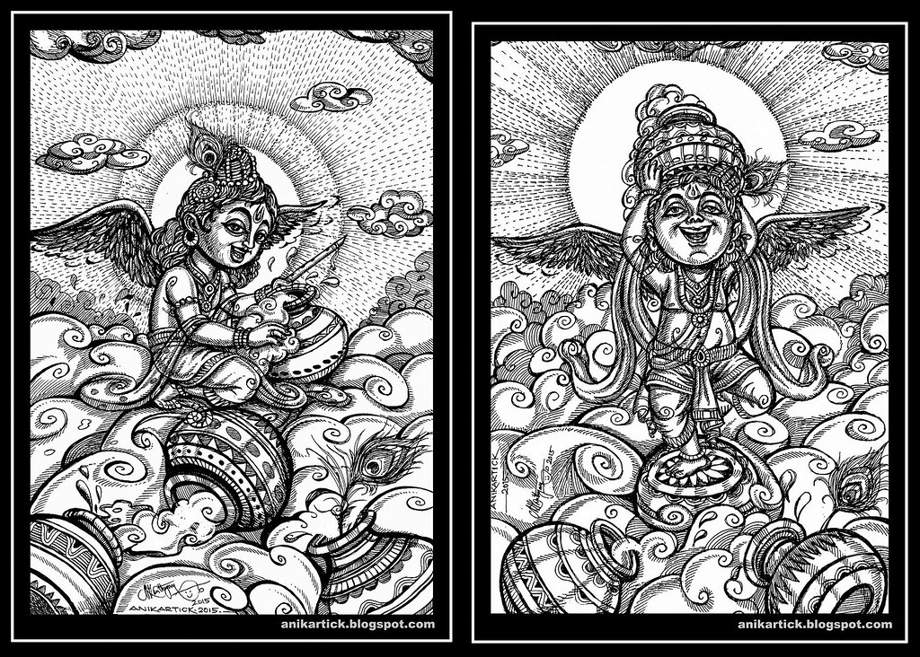 Little Krishna play with the clouds of butter Pots-Anikart