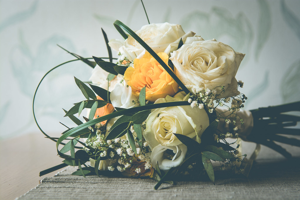 flowers, wedding flowers, wedding bouquet, white roses, roses, yellow roses, lincolnshire