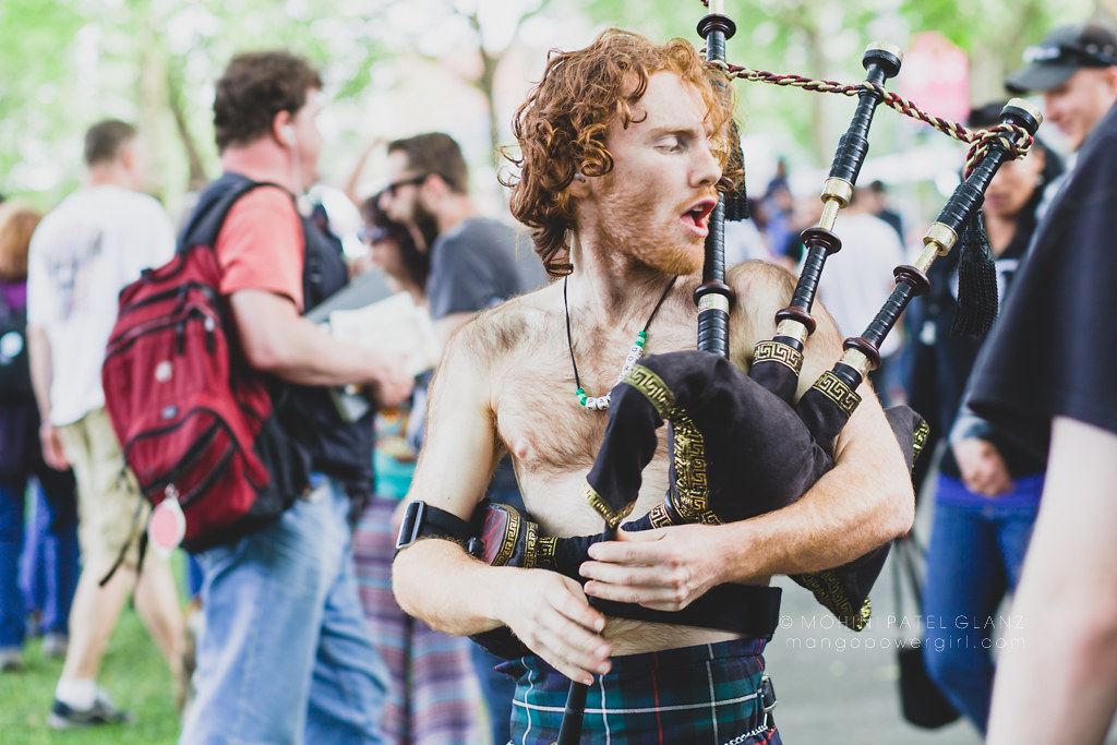 man with the bag pipes