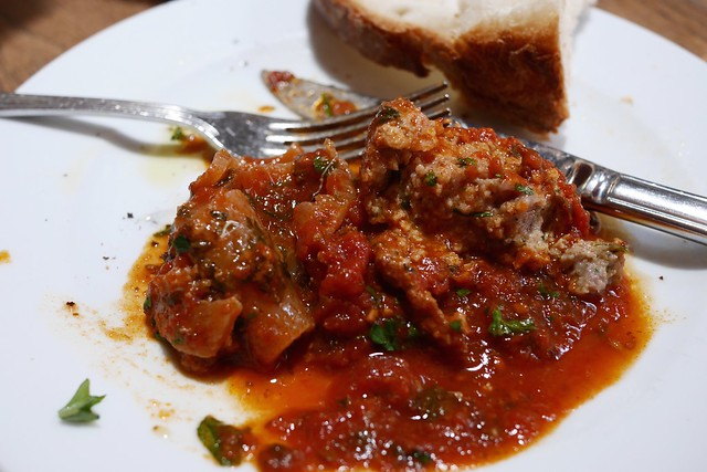 ... beef braciola, sausage & meatballs slowly cooked in tomato sauce