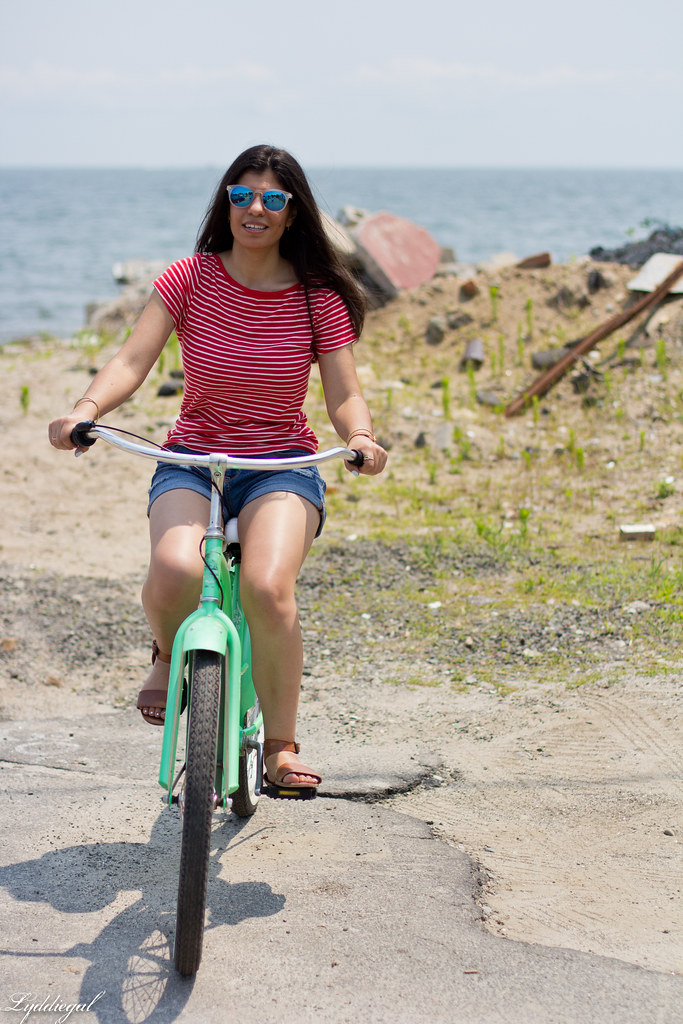 striped tee, denim shorts, riding on a beach cruiser bike-5.jpg