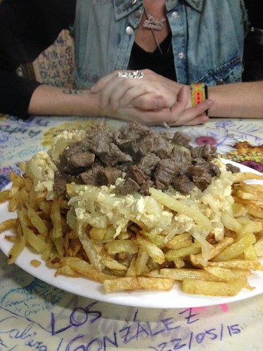 Home of the chorrillana, home made fries, onion, meat and scrambled egg, Casino Social J. Cruz M, Valparaiso, Chile