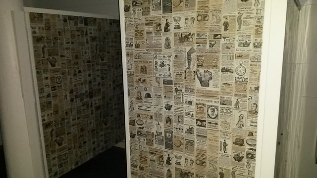 """Park bathroom decorated with the old Wendy""""s table print"""